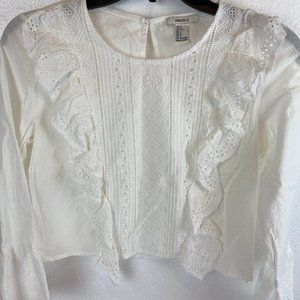 Forever 21 Blouse Lace Cotton  Boho